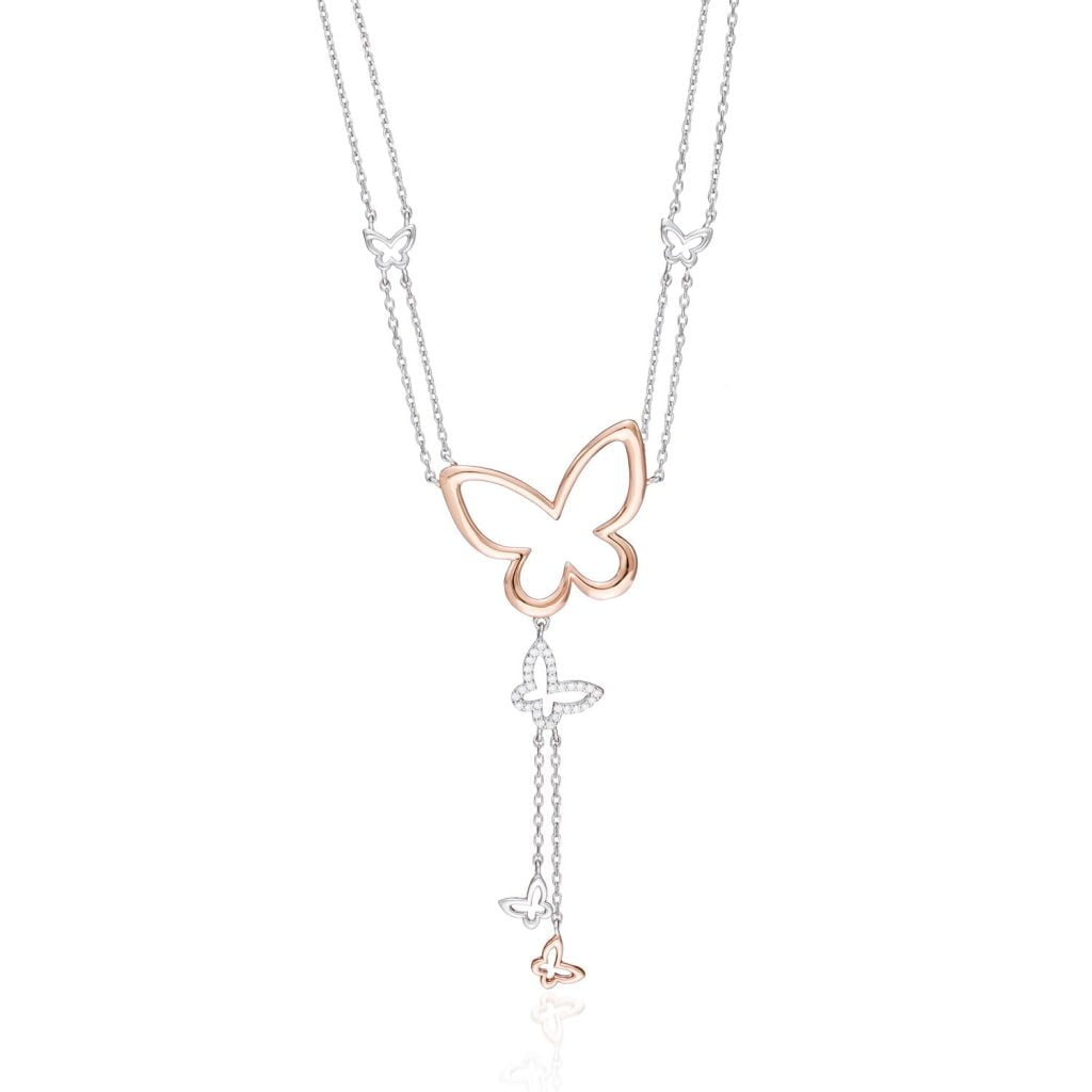 Butterfly Rose gold necklace pendant