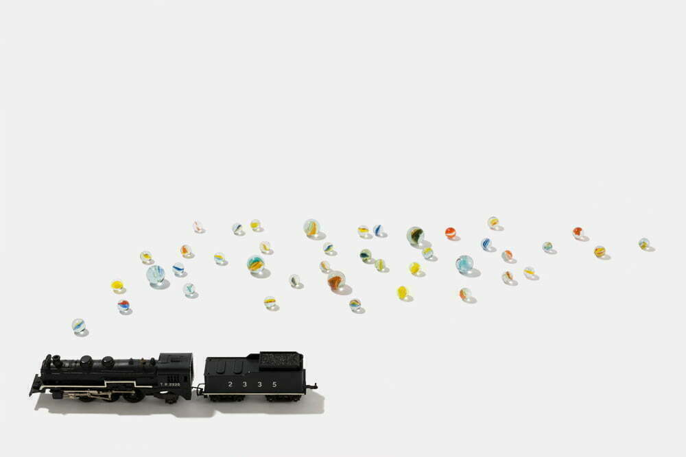Train and marbles