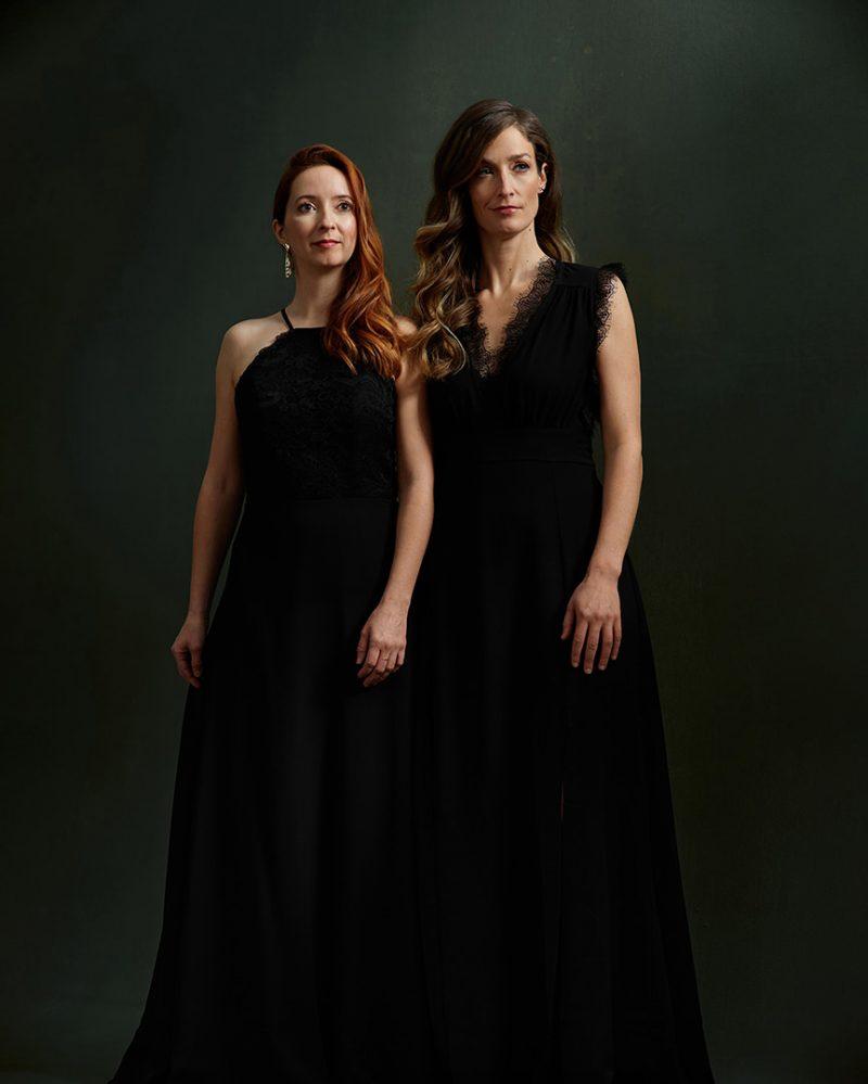Duo-Fortin-Poirier-pianists-musician-portrait-by-nadia-zheng-black-dress-canvas-backdrop-instagram
