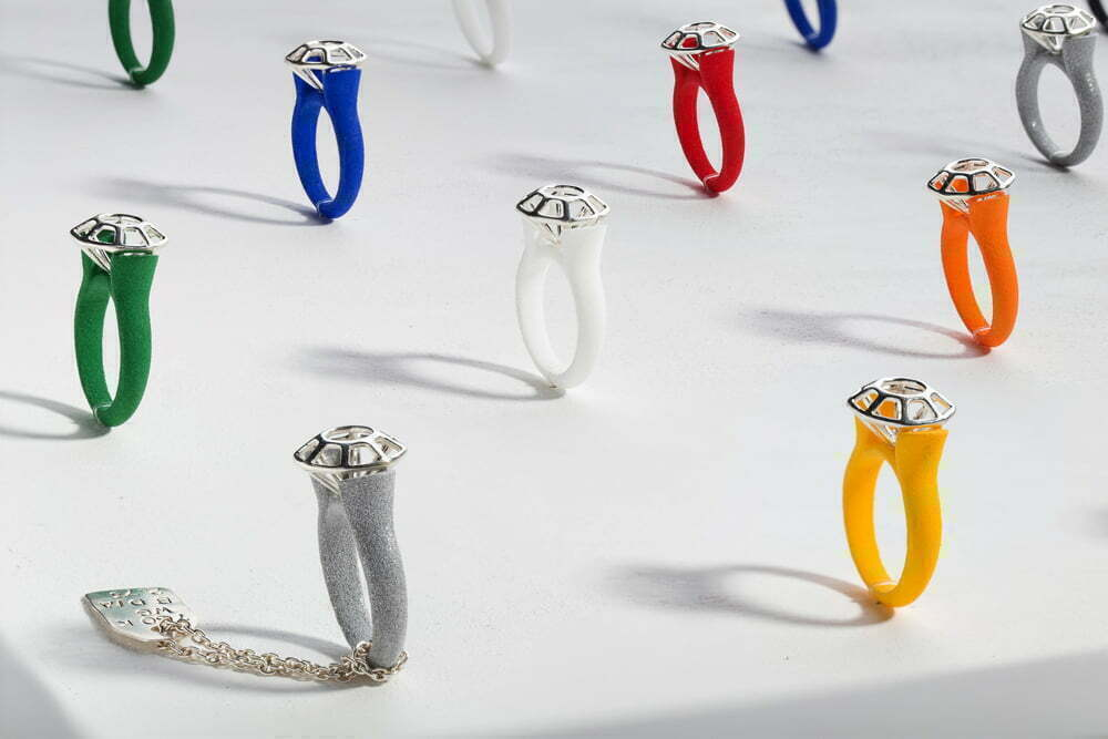 Montreal Jewelry Photography -contemporary 3d print rings designed by Nazanin Rostami